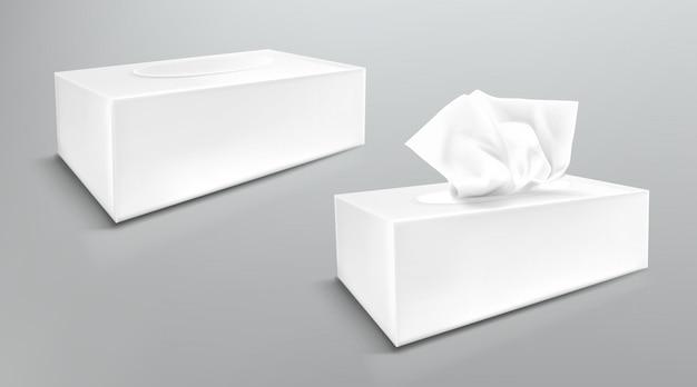Maqueta de caja de servilletas de papel, cierre y abra paquetes en blanco con toallitas de tejido vista lateral. accesorios de higiene, paquetes de cartón blanco aislados sobre fondo gris, ilustración realista 3d, maqueta