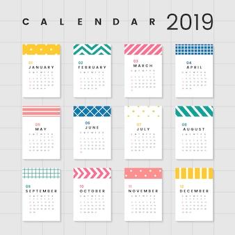 Maqueta de calendario colorido