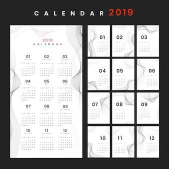 Maqueta de calendario de diseño de contorno