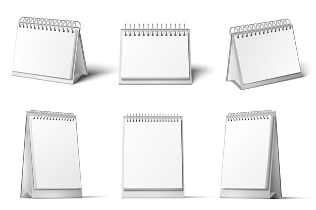 Maqueta de calendario de escritorio. soporte de calendarios en blanco, recordatorio de diario de mesa y conjunto de plantillas blancas 3d realistas.
