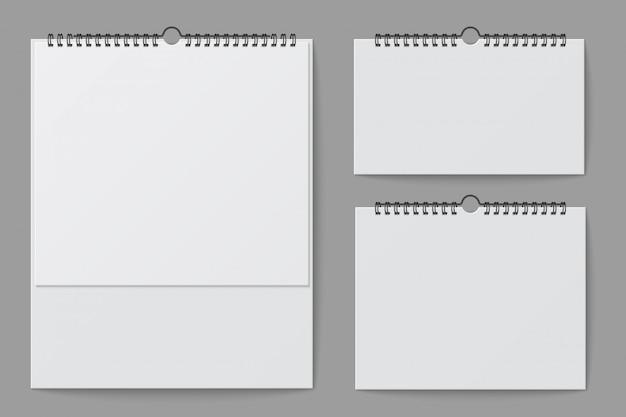 Maqueta de calendario de pared. calendario de oficina escritorio blanco en blanco con carpeta espiral. plantilla aislada del vector 3d