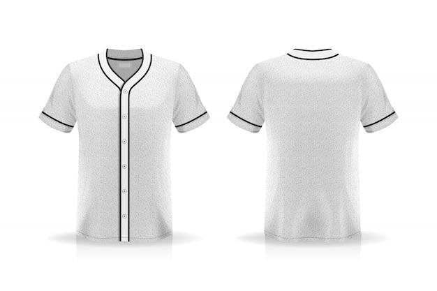 Maqueta de camiseta de béisbol de especificación aislada sobre fondo blanco, espacio en blanco en la camisa para el diseño y colocación de elementos o texto en la camisa, en blanco para imprimir, ilustración vectorial