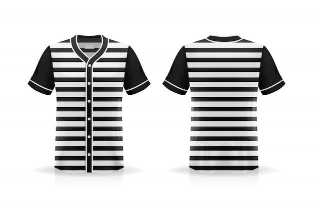 Maqueta de camiseta de béisbol de especificación aislada sobre fondo blanco