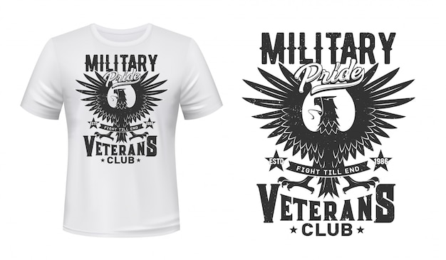 Maqueta de camiseta con estampado de águila, club de veteranos militares