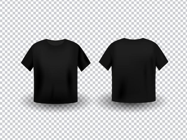 Maqueta de camiseta negra realista con vista frontal y posterior sobre fondo transparente.