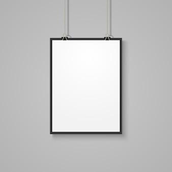 Maqueta de cartel blanca en pared gris