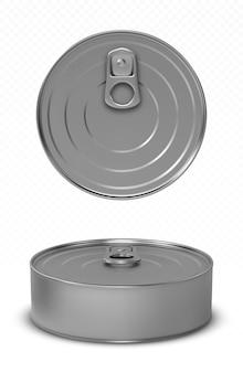 Maqueta de comida para mascotas o pescado de lata con vista superior y frontal del anillo de tracción