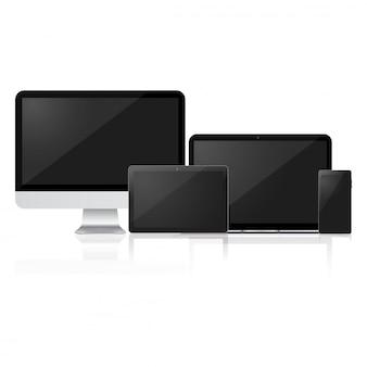 Maqueta de computadora, laptop, tableta y teléfono inteligente