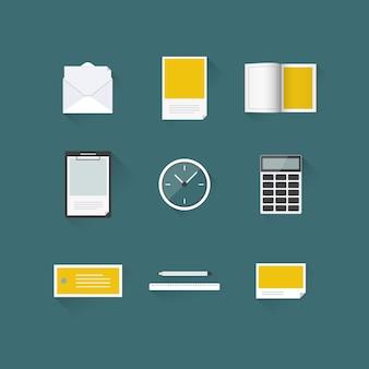 Maqueta de conjunto de iconos de oficina con larga sombra
