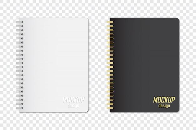 Maqueta de cuaderno en dos colores con sombra sobre fondo transparente