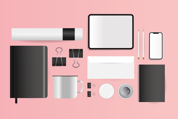 Maqueta de cuadernos de sobre de tableta cd y diseño de teléfono inteligente de plantilla de identidad corporativa y tema de marca