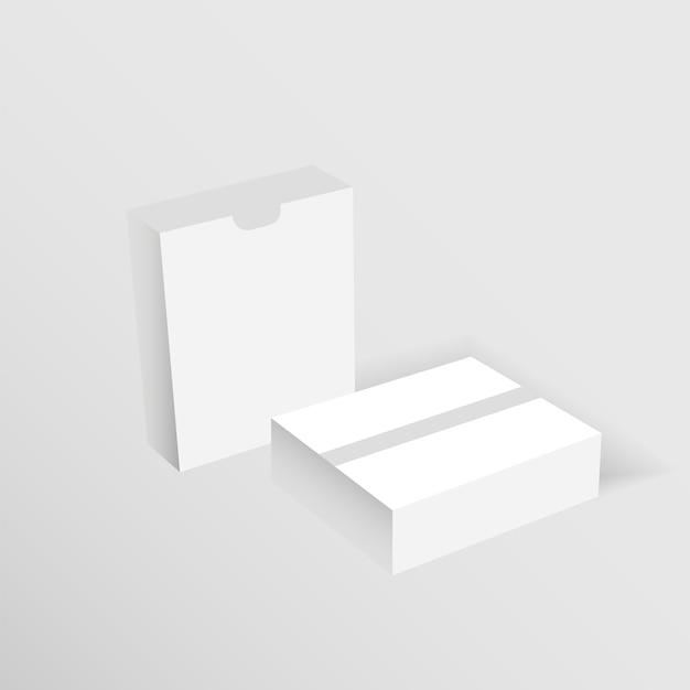 Maqueta de cajas de cartón blanco en blanco.
