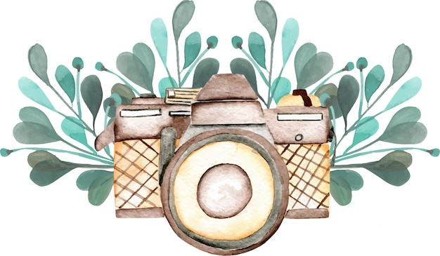 Maqueta de logotipo con cámara de acuarela y elementos florales