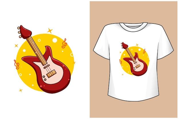 Maqueta de dibujos animados de guitarra baja