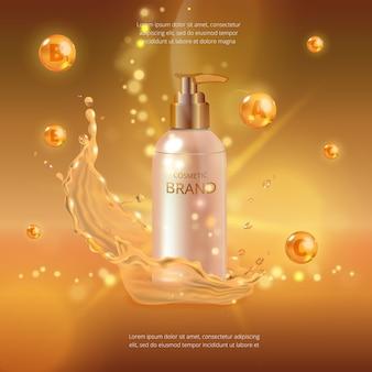 Maqueta digital de esencia de aceite de colágeno, con su marca, lista para anuncios impresos o revistas.
