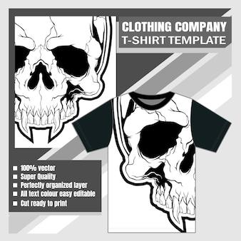Maqueta de diseño de camiseta de la compañía de ropa cráneo