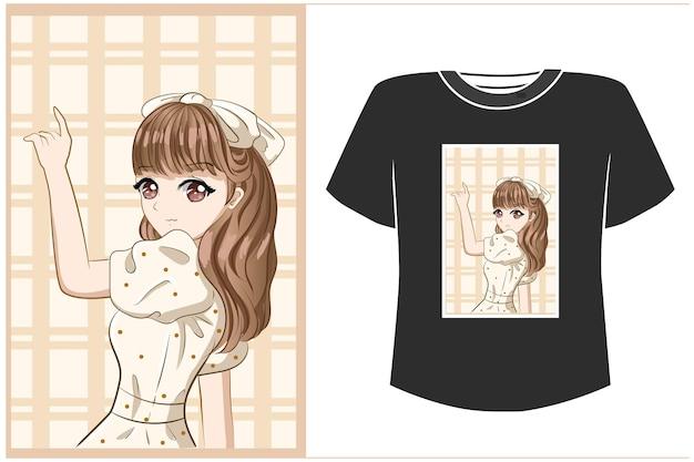 Maqueta de diseño de camiseta hermosa chica con vestido blanco ilustración de dibujos animados