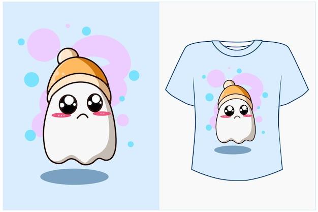 Maqueta de diseño de camiseta ilustración de dibujos animados fantasma lindo