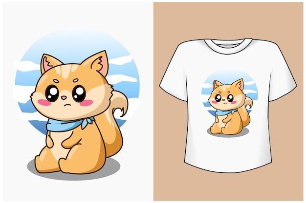 Maqueta de diseño de camiseta ilustración de dibujos animados de gato pequeño feliz