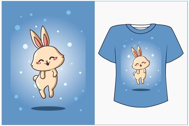 Maqueta de diseño de camiseta ilustración de dibujos animados lindo bebé conejo