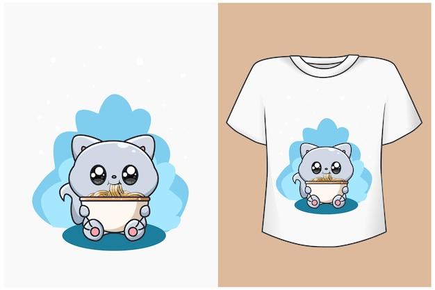 Maqueta de diseño de camiseta ilustración de dibujos animados lindo gato