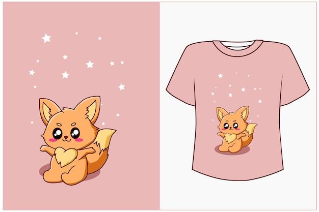 Maqueta de diseño de camiseta ilustración de dibujos animados de pequeño zorro feliz