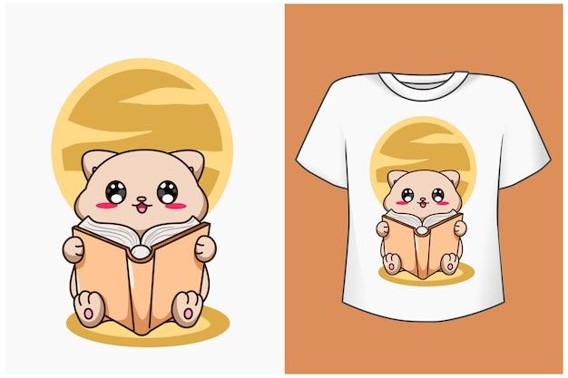 Maqueta de diseño de camiseta lindo gato leyendo un libro ilustración de dibujos animados
