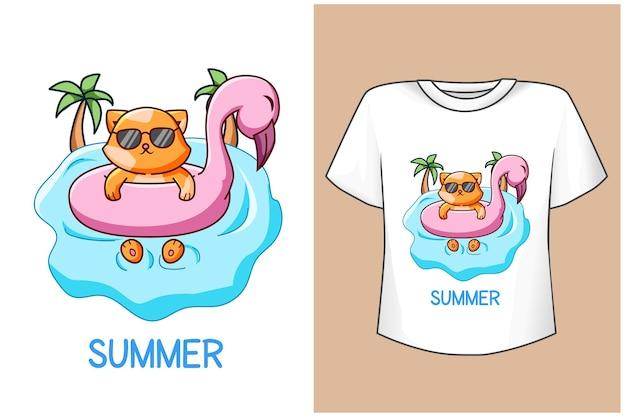 Maqueta de diseño de camiseta lindo gato en verano
