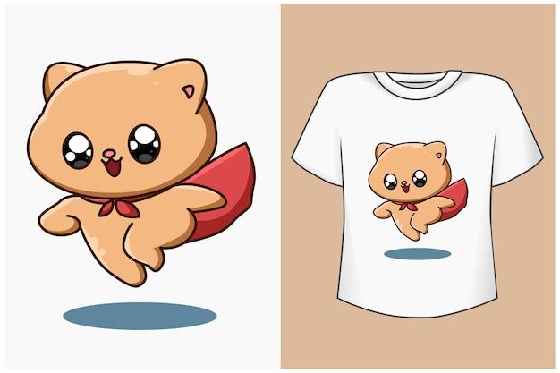 Maqueta de diseño de camiseta lindo héroe gato ilustración de dibujos animados