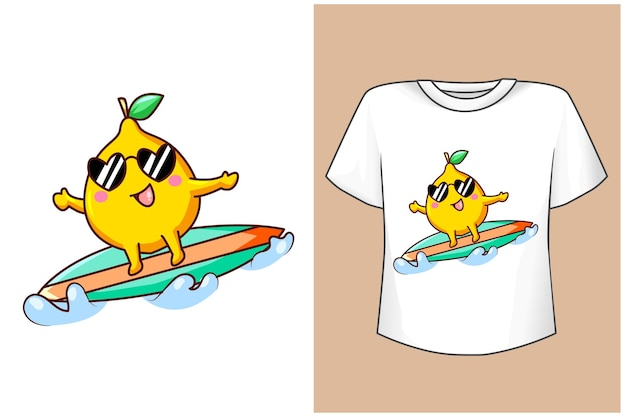 Maqueta de diseño de camiseta surf limón en verano