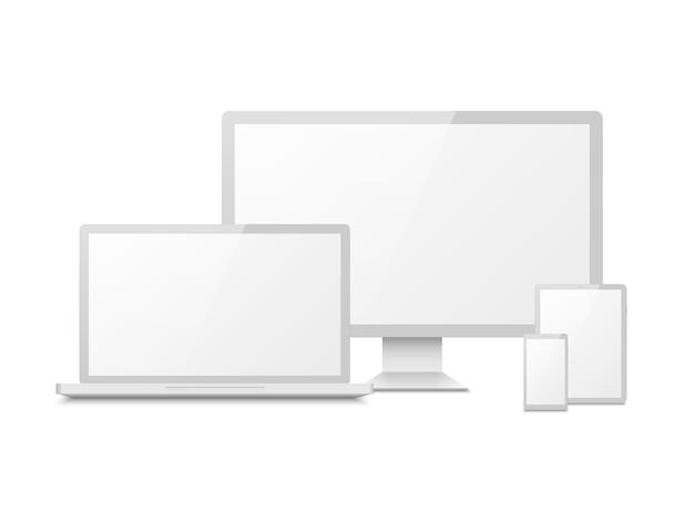 Maqueta de dispositivo blanca. tablet laptop smartphone pantalla computadora pc display. dispositivos multimedia con pantalla táctil electrónica 3d