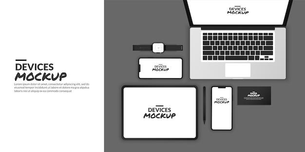 Maqueta de dispositivos conceptuales con pantalla en blanco para desarrollo de aplicaciones