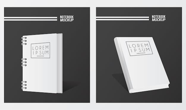 Maqueta de dos cuadernos color blanco.