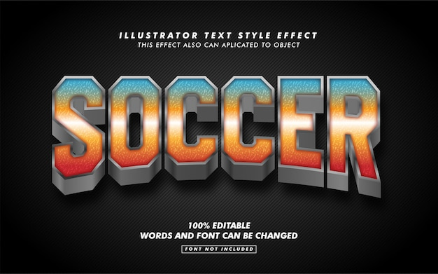 Maqueta de efecto de estilo de texto de deporte de fútbol