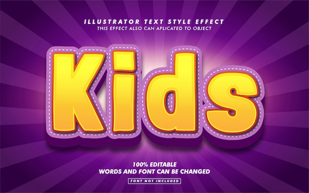 Maqueta de efecto de estilo de texto de dibujos animados para niños