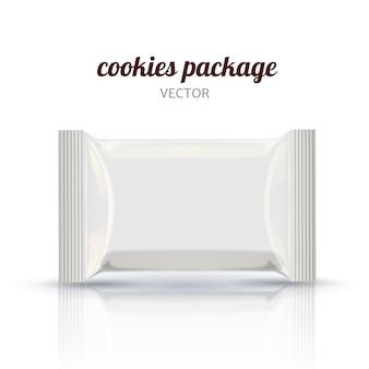 Maqueta de elementos de empaque de galletas en blanco utilizada como elementos de diseño