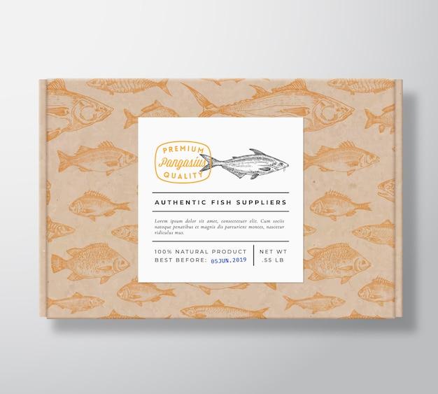 Maqueta de embalaje de caja de cartón realista de pescado