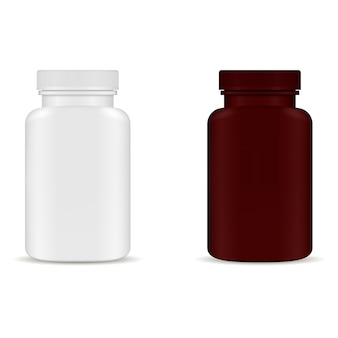 Maqueta de envases botella de píldora. paquete de medicamentos en blanco