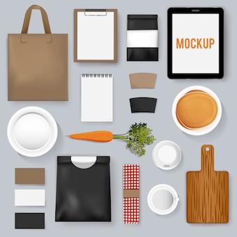 Maqueta establece colección café café ilustración vectorial