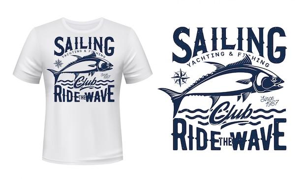 Maqueta estampada de camiseta de atún del deporte de pesca