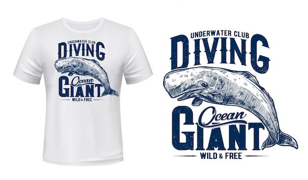 Maqueta con estampado de camiseta de cachalote de ballena, club de buceo