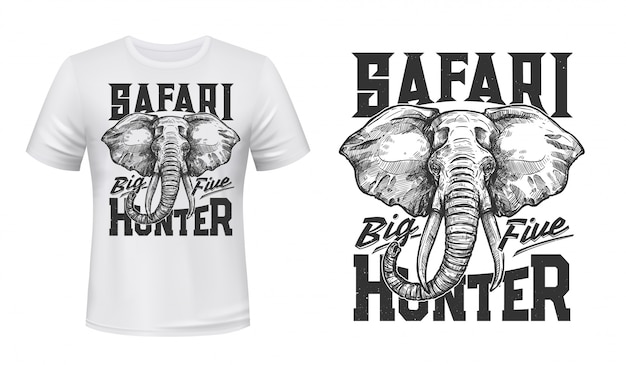 Maqueta con estampado de camiseta de elefante de caza de safari
