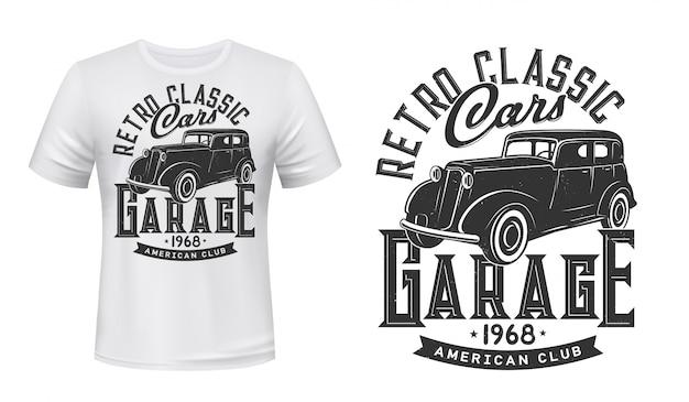 Maqueta con estampado de camiseta de garaje de autos antiguos