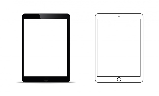Maqueta frente a una tableta negra que parece realista