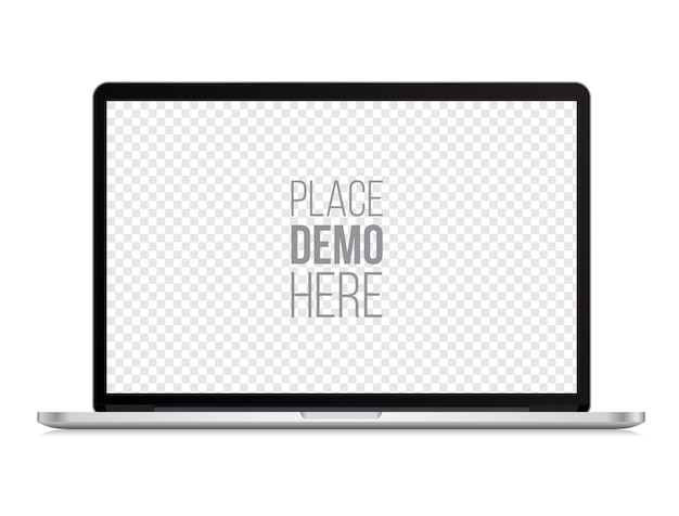 Maqueta frontal portátil estilo macbook aislado