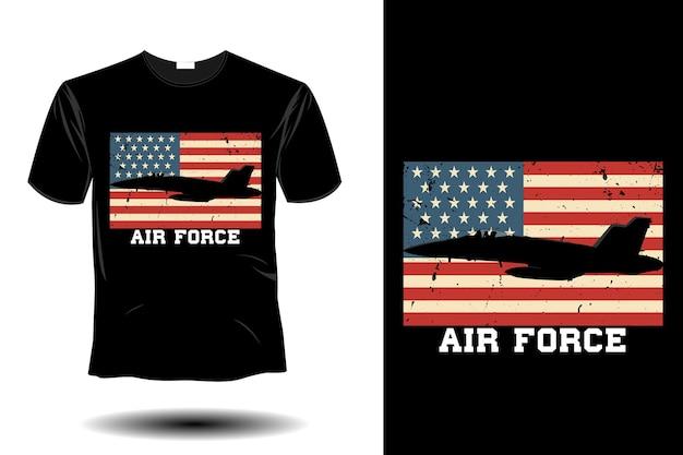 Maqueta de la fuerza aérea diseño retro vintage