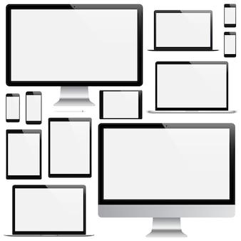 Maqueta de gadgets y dispositivos de lápiz, teléfono inteligente, tableta, computadora portátil y monitor de computadora con protector de pantalla en blanco aislado