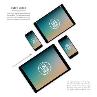 Maqueta de gadgets y dispositivos de lápiz, teléfono inteligente, tableta, computadora portátil y monitor de computadora con protector de pantalla de color aislado