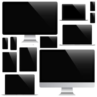 Maqueta de gadgets y dispositivos de lápiz, teléfono inteligente, tableta, computadora portátil y monitor de computadora con protector de pantalla negro aislado