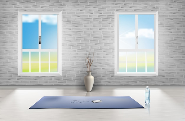 Maqueta de habitación vacía con pared de ladrillo, dos ventanas, alfombra azul, florero y botella de agua